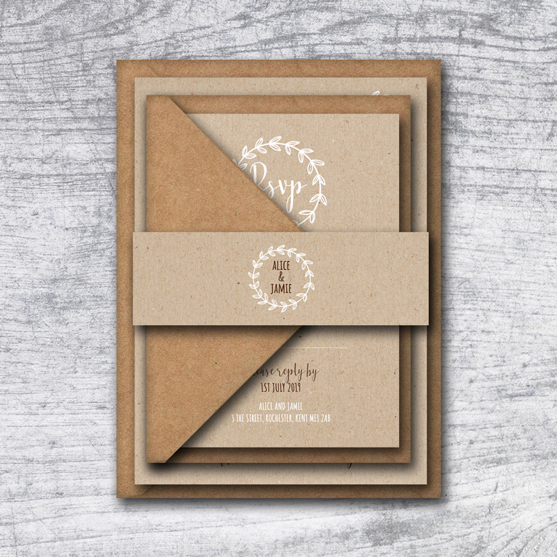 Rustic Laurel Wedding Invitation Set
